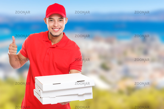Pizza delivery latin man order delivering job success successful smiling deliver copyspace copy space