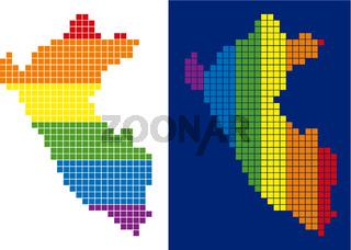 Spectrum Pixel Dotted Peru Map