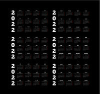 Set of 2022 year simple calendars on different languages like english, german, russian, french, spanish and chinese on dark background