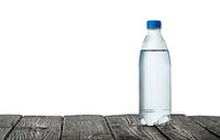 Plastic bottle of water on the table