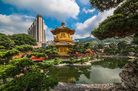 The golden pavilion in Nan Lian Garden, Hong Kong.