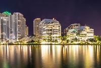 Night view of Brickel Key buildings in Miami