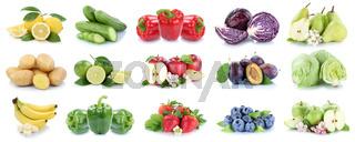 Obst und Gemüse Früchte Apfel Zitrone Erdbeeren Farben Collage Freisteller freigestellt isoliert