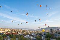 Cappadocia cityscape skyline with hot air balloon in Cappadocia, turkey