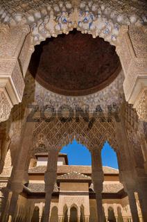 Granada, Spain - April 27, 2014: Famous Alhambra interior, Granada, Spain.