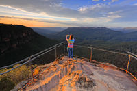 Capturing a photo of sunrise mountain lookout