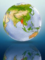 Myanmar on globe