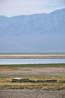 Mongolian shepherd's house on the background of the lake Dzergiin Tsagaan Nuur in Mongolia