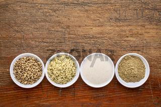 hemp seeds, hearts, milk and protein powder