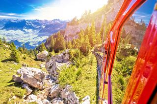 Mount Pilatus descent on worlds steepest cogwheel railway