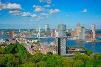 View of Rotterdam city and the Erasmus bridge
