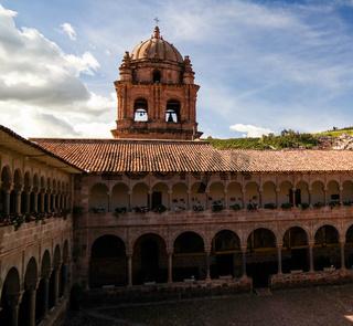 View to Coricancha, famous temple in the Inca Empire, Cuzco, Peru