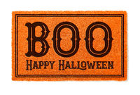 Boo, Happy Halloween Orange Welcome Mat Isolated on White Background