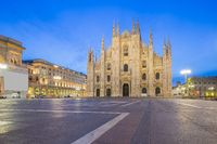 Milan Cathedral from the square at twilight in Milan, Italy