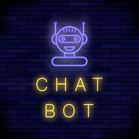 Neon Chat Bot. Artificial Intelligence Concept. Cute Smiling Chatbot Icon. Robot Virtual Assistance.