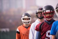 portrait of young american football team