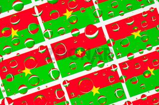 Rain drops full of Burkina Faso flags