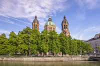 Munich Germany, city skyline at Saint Lukas Church and Isar River
