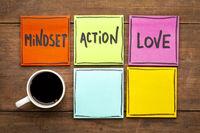 mindset, action, love concept on napkin