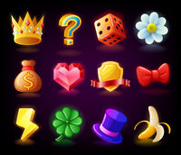 Colorful slots icon set N2 for casino slot machine, gambling games
