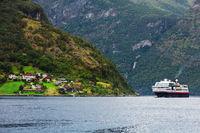 Cruise ship in Geiranger fjord.