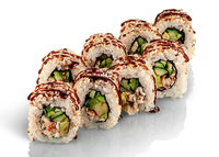 Several pieces of sushi roll california