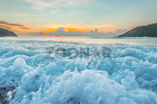 Raging waves at sunset