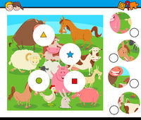 match pieces puzzle with farm animals group