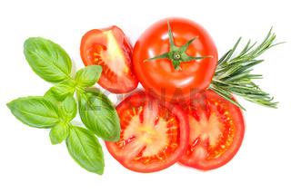 Tomaten mit Basilikum Gemüse von oben freigestellt Freisteller isoliert