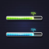 Blue and green progress bar, loading, template for app interface