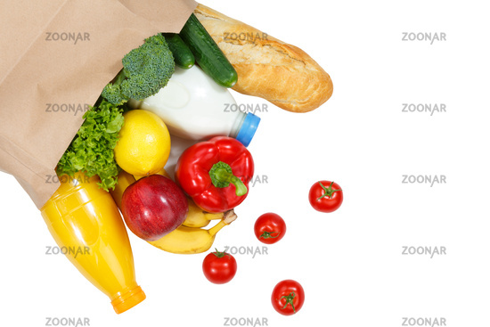 Einkauf Lebensmittel einkaufen Früchte Obst und Gemüse von oben Papiertüte freigestellt Freisteller isoliert
