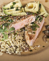 Ahi Tuna Steak With Rice and Avocado