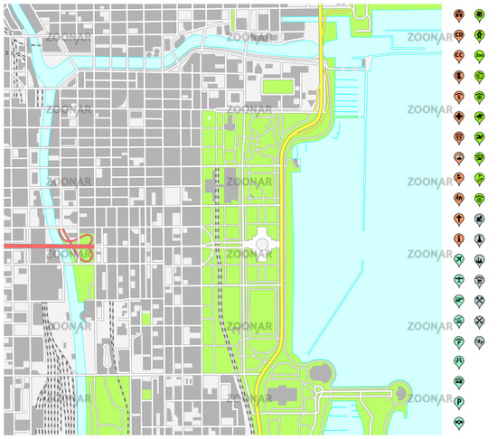 Downtown Chicago Map on