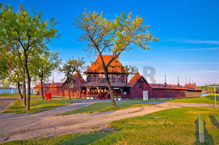 Palic lake wooden lady beach near serbian town of Subotica view