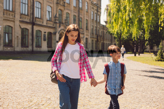 Mother and son after school