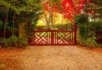 Red gate and autumn colours of beautiful gardens