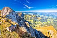 Alps in Switzerland on Pilatus Kulm mountain panoramic view