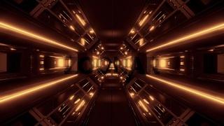 dark space sci-fi tunnel airship corridor fly through vj loop 3d illustration with golden glow