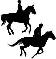 Set black silhouette of horse and jockey