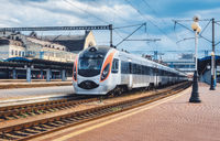 High speed train at the railway station in Ukraine