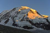 Morgensonne am Liskamm Gipfel, Zermatt, Wallis, Schweiz
