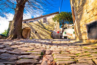 Cobbled village of Groznjan on istrian hill street view