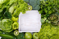 Mix of green fruits and vegetables