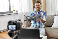 male video blogger with keyboard videoblogging