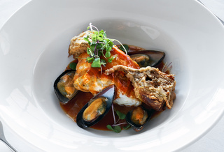 Sea devil with mussels