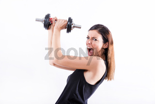 Screaming woman lifting weight