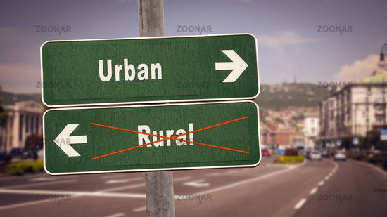 Street Sign Urban versus Rural