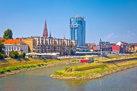 Drava river waterfront in town of Osijek view