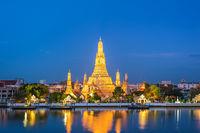Bangkok Thailand, night city skyline at Wat Arun temple and Chao Phraya River