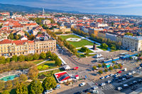 Zagreb historic city center aerial view